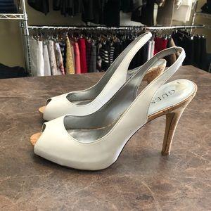 Guess White Slingback High Heels